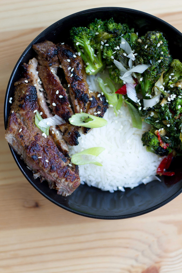 Beef and Broccoli Bowl with Stir Fried Kale and Sesame Ginger Sauce