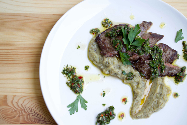 Chimichurri minute steak with eggplant puree.