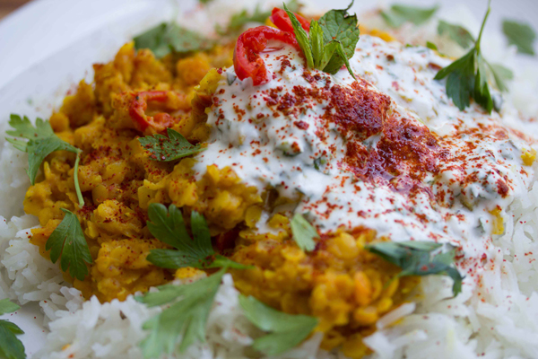 Spicy Red Lentil Dahl with Cool Mint Yogurt
