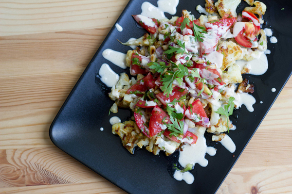 Roasted Cauliflower Salad with Pico de Gallo and Drizzled Tahini