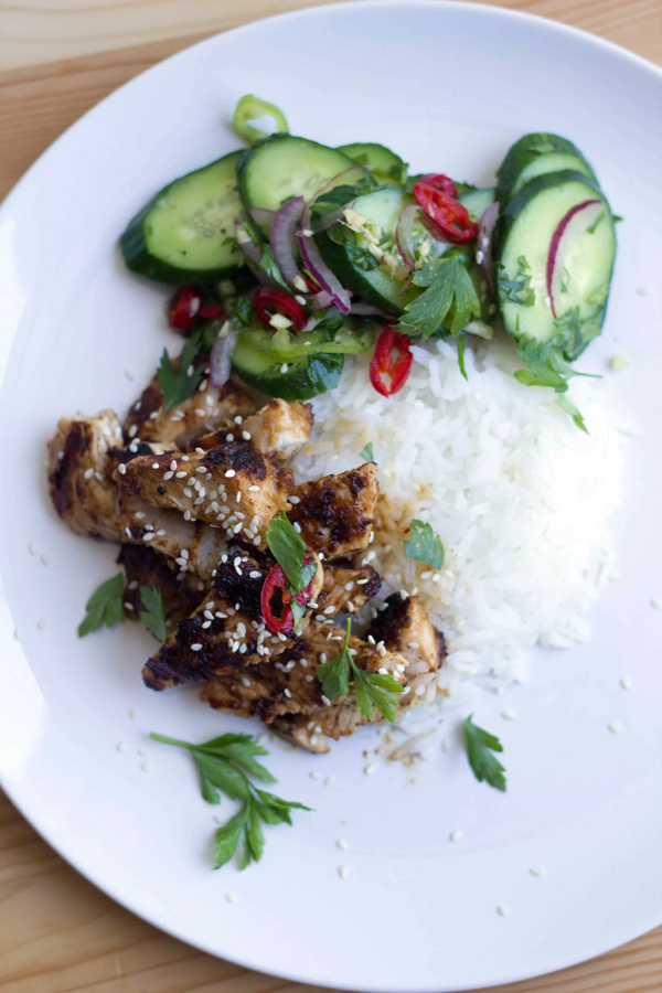 Thai Chicken Satay with Refreshing Cucumber Salad