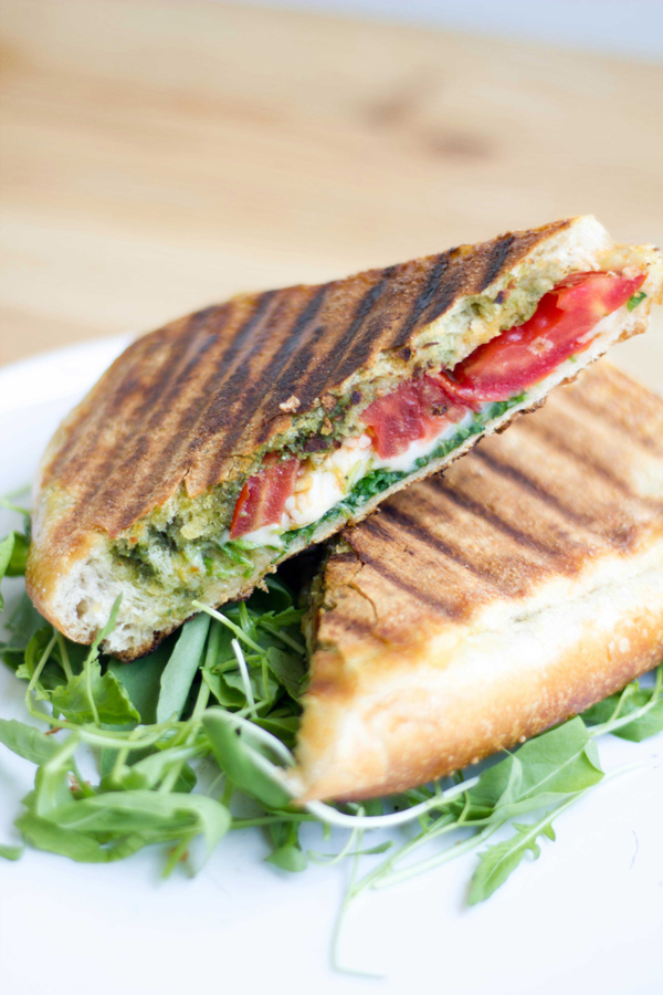 Caprese Panini with Pesto and Iced Latte