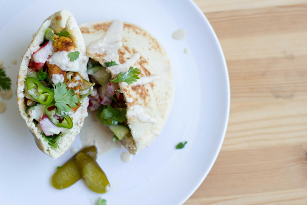 Homemade Israeli Chicken Shawarma Pita Sandwich