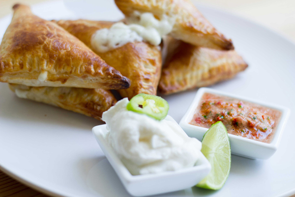 Cheesy Puff Pastry Empanadas with Homemade Salsa and Sour Cream