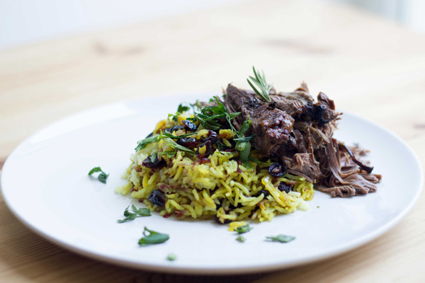 Slow Cooker Beef Pot Roast with Persian Cranberry Rice