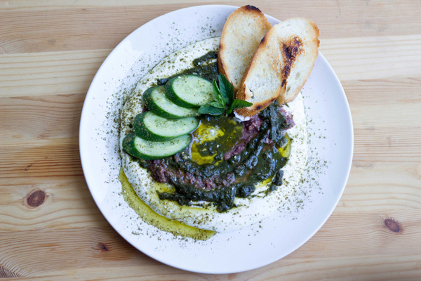 Labneh with Za'atar, Mint Pesto, and Kalamata Olive Tapenade