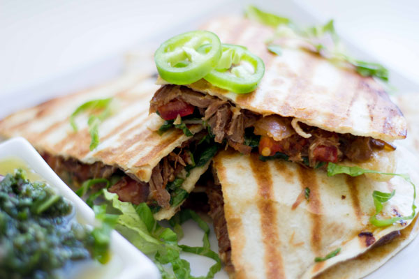 Slow cooker shredded beef quesadillas with chimichurri dipping sauce | SeriousSpice.com